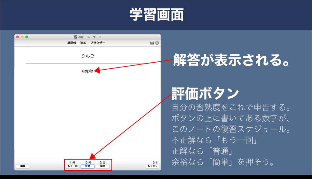 ankiの学習画面。解答が表示されている。
