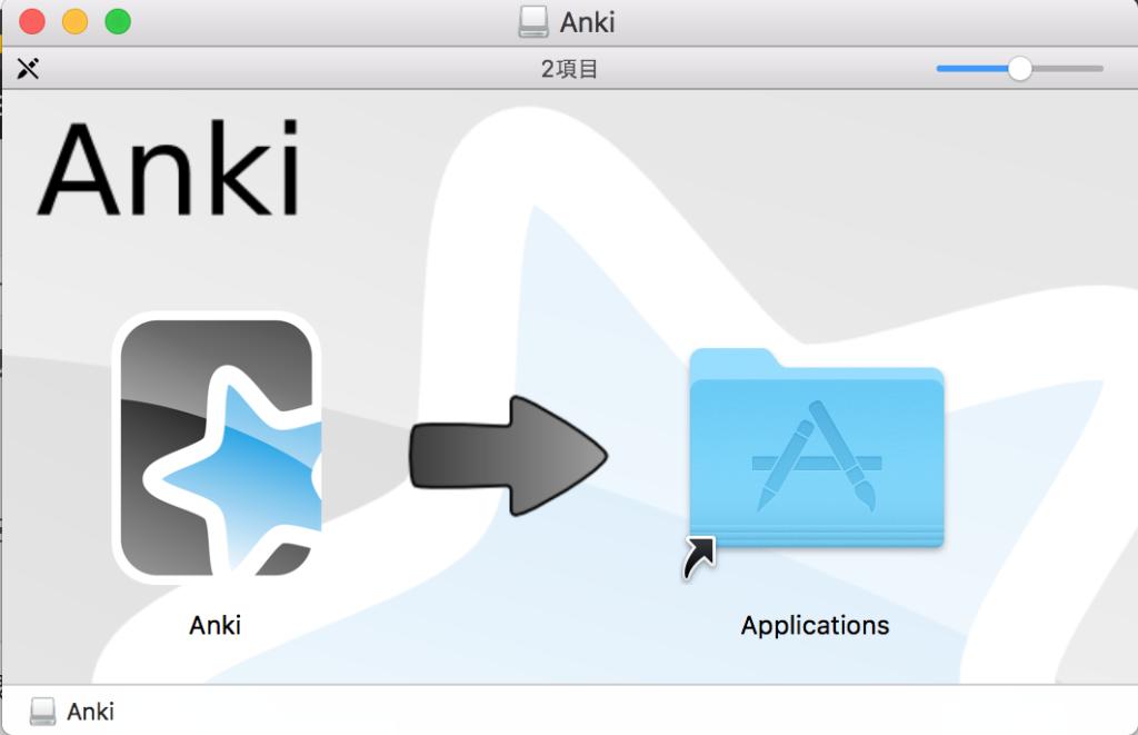 ankiアイコンをapplicationにドラッグする。