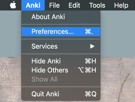 Ankiのメニューバー、非日本語の場合。