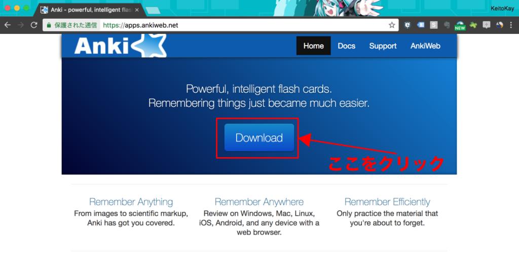 Ankiホームページの中央にあるDownloadボタンをクリック。
