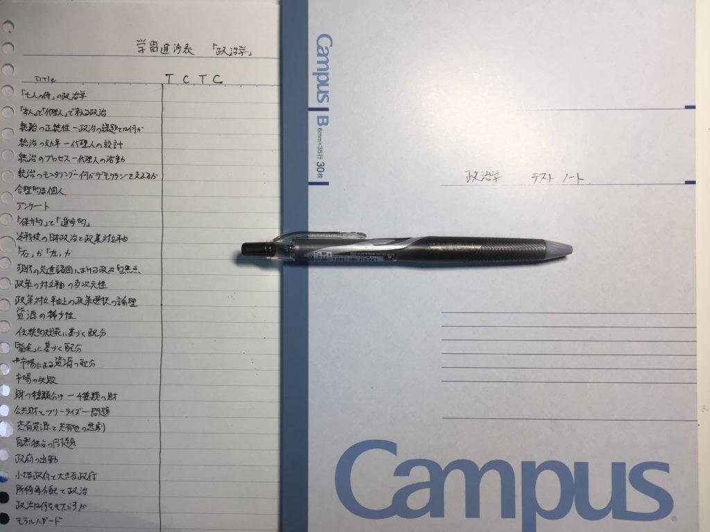 学習進捗表と、テストノートと、ボールペン。