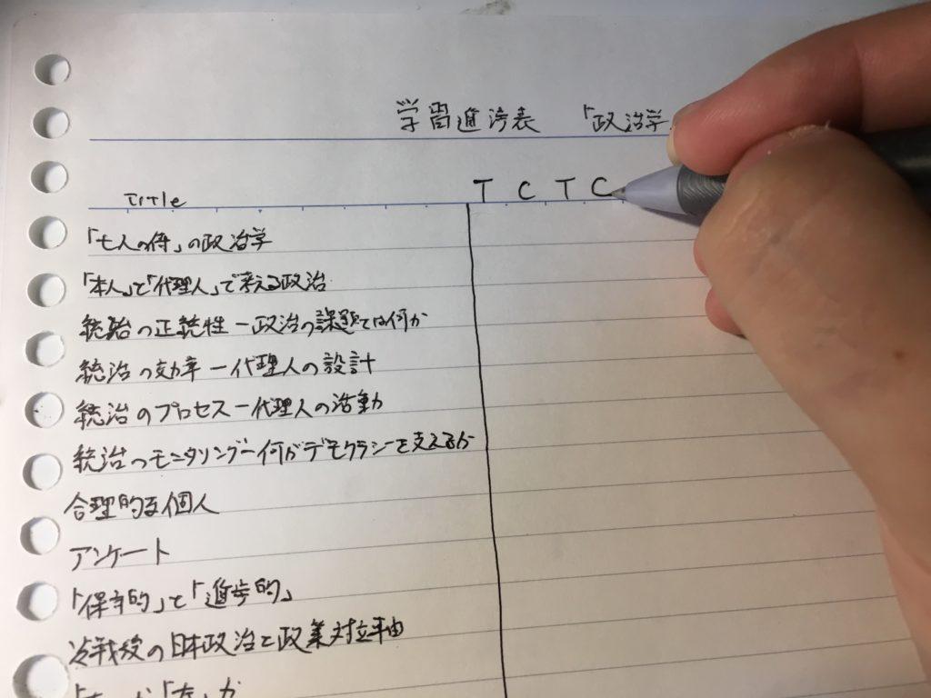 学習進捗表の横軸に、TCTCと書いている最中の画像